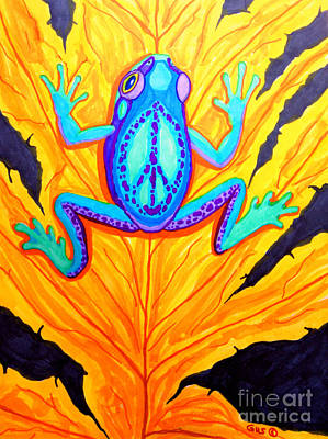 Amphibians Drawing - Peace Frog On Fall Leaf by Nick Gustafson