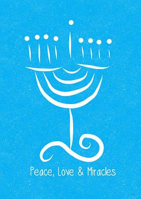 Hanukkah Painting - Peace Love And Miracles With Menorah by Linda Woods