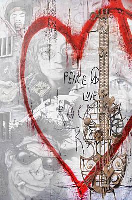 Slash Mixed Media - Peace Love Rocknroll by Joachim G Pinkawa