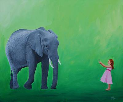 Happy Elephant Painting - Peace Offering by Emily Page