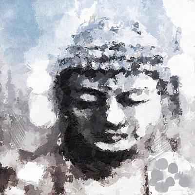 Mixed Media Mixed Media - Peaceful Buddha- Art By Linda Woods by Linda Woods