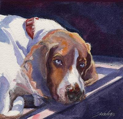 Coonhound Painting - Peaceful Moment by Sheila Wedegis
