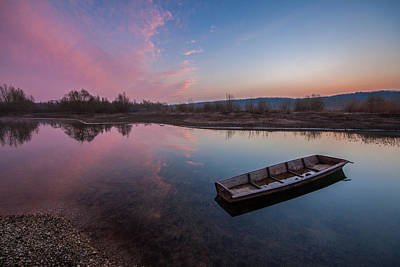 Pink Clouds Photograph - Peaceful Morning At River by Davorin Mance