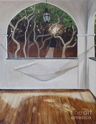 Side Porch Painting - Peaceful Retreat by Carla Dabney