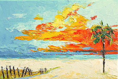 Tree At Sunset Painting - Peaceful Sunset At The Beach - Modern Impressionist Knife Palette Oil Painting by Patricia Awapara
