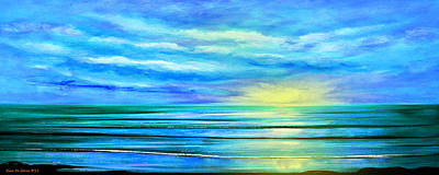 Peacefully Blue - Panoramic Sunset Print by Gina De Gorna