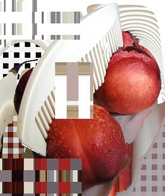 Peach And Haircomb Print by Evguenia Men