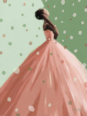 Model Painting - Peach And Mint Green Fashion Art by Beverly Brown Prints