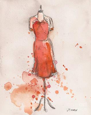 Peach And Orange Dress Original by Lauren Maurer