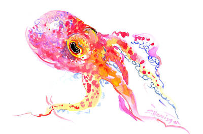 Octopus Drawing - Peach Color Octopus by Suren Nersisyan