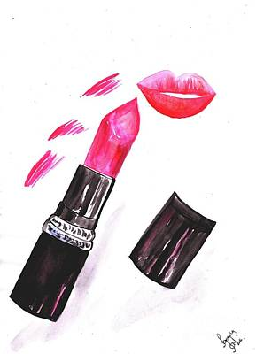 Lip Stick Painting - Peach Lips by Sweeping Girl