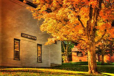 Autumn Scenes Photograph - Peacham Town Hall - Vermont In Autumn by Joann Vitali