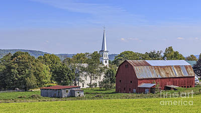 Red Barn. New England Photograph - Peacham Vermont Idylic Vermont Scene by Edward Fielding