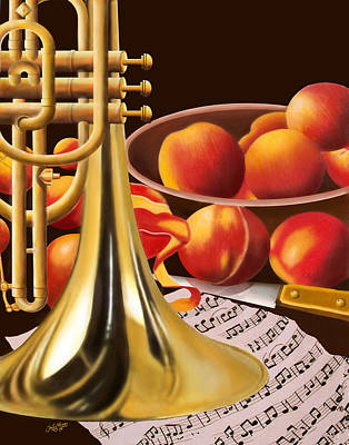 Peaches And Horn Print by James  Mingo