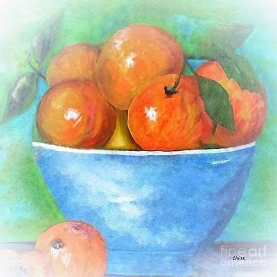 Life Painting - Peaches In A Blue Bowl Vignette by Eloise Schneider