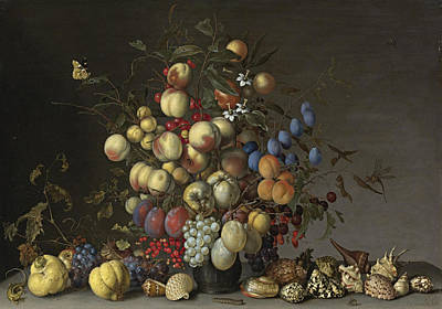 Peaches Plums Oranges Apples Print by Balthasar van der Ast
