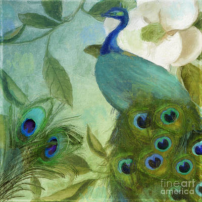 Peacock And Magnolia IIi Print by Mindy Sommers