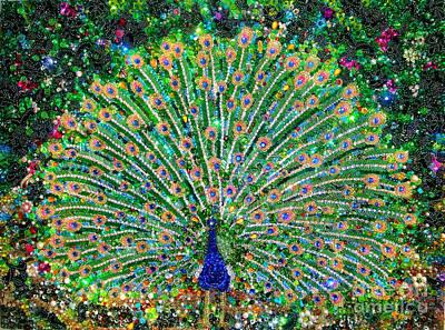 Bead Embroidery Painting - Peacock Beadwork Art Bead Embroidery  by Sofia Goldberg