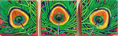 Lisa Rodriguez Painting - Peacock Eye Trio by Lisa Rodriguez