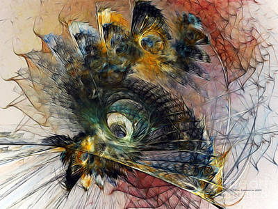 Contemporary Abstract Digital Art - Peacock Fan by Karin Kuhlmann