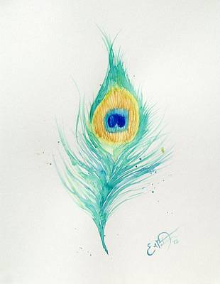 Peacock Feather 2 Print by Oddball Art Co by Lizzy Love