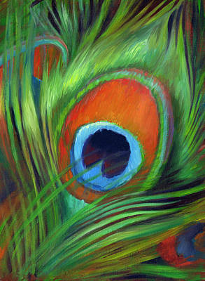 Iridescent Painting - Peacock Feather by Nancy Tilles