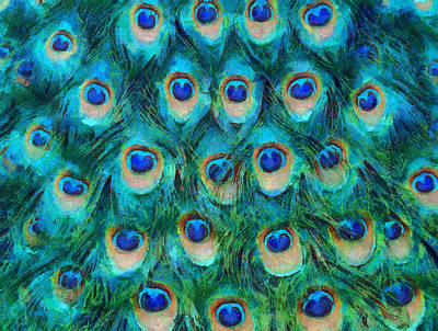 Repeating Mixed Media - Peacock Feathers by Nikki Marie Smith