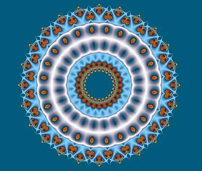 Yellow Digital Art - Peacock Fractal Mandala I by Ruth Moratz