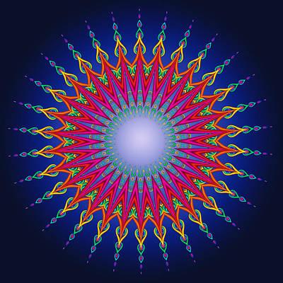 Beautiful Digital Art - Peacock Moon Mandala Fractal by Ruth Moratz