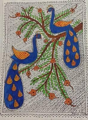 Madhubani Painting - Peacocks by Meena Arunachalam