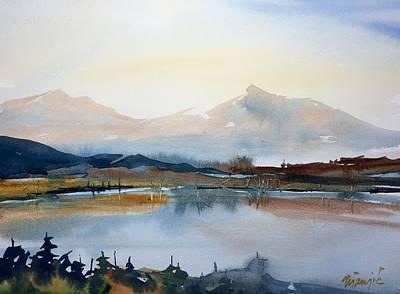 Dillon Painting - Peaks Over Dillon Reservoir by Ugljesa Janjic
