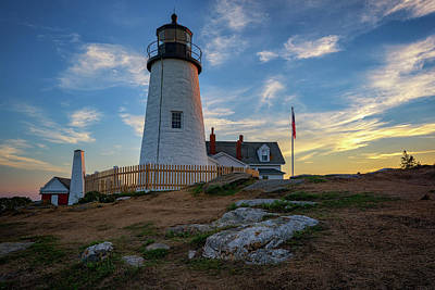 Downeast Photograph - Pemaquid Point Lighthouse At Sunset by Rick Berk