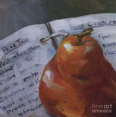 Cookbook Painting - Pear Meets Cookbook by Kristine Kainer