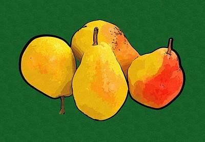 Pears Digital Art - Pear Painting by Michael Vicin