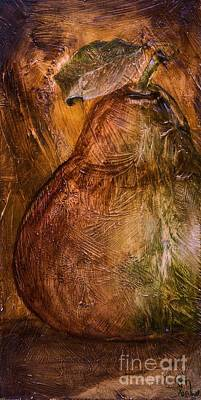 Earth Tones Painting - Pear With Leaf by Jodi Monahan
