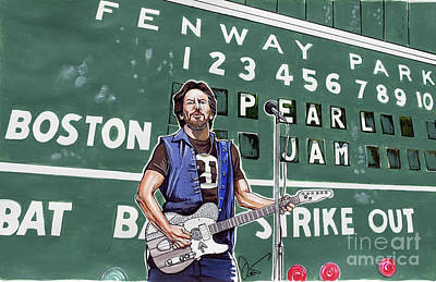 Fenway Park Drawing - Pearl Jam And Eddie Veddar At Fenway Park by Dave Olsen