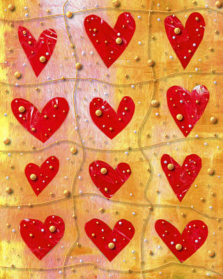 Pearl Digital Art - Pearly Hearts Valentine by Carol Leigh