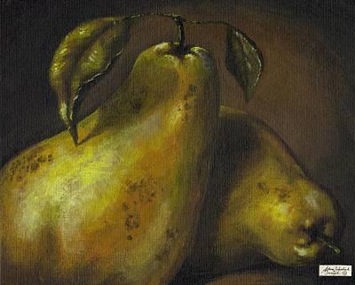 Interior Still Life Painting - Pears by Adam Zebediah Joseph