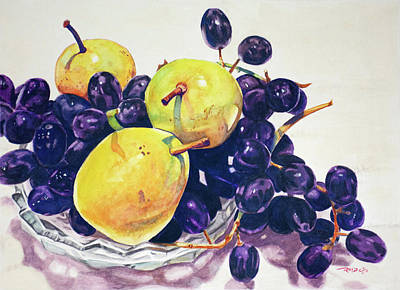 Fresh And Delicious Painting - Pears And Grapes by Christopher Reid