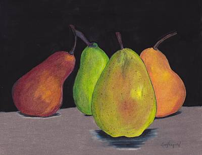 Pears In Colors Print by Lea Velasquez