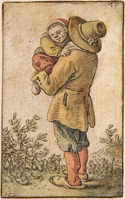 Drawing - Peasant With Child by Herman Saftleven