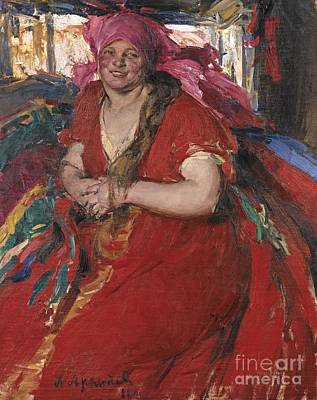 Woman In Red Dress Painting - Peasant Woman In A Red Dress by Celestial Images