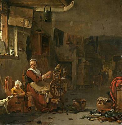 Thomas Wijck Painting - Peasant Woman Spinning by Thomas Wyck