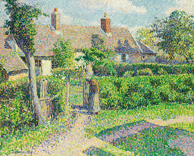 Peasants' Houses, Eragny Print by Camille Pissarro