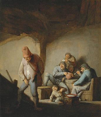 Painting - Peasants In The Interior Of An Inn by Adriaen van Ostade