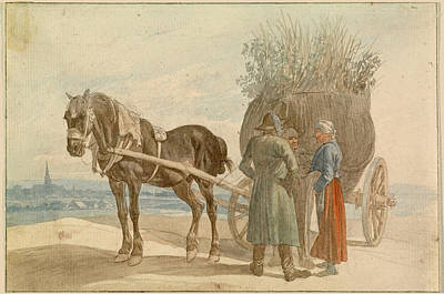 Painting - Peasants With A Horse And Cart With Vienna In The Distance by Johann Adam Klein