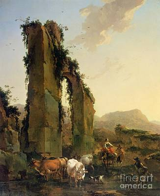 Peasants With Cattle By A Ruined Aqueduct Print by Nicolaes Pietersz Berchem