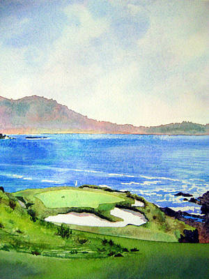 Us Open Painting - Pebble Beach Gc 7th Hole by Scott Mulholland