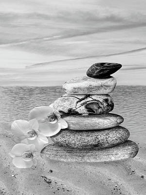 Orchids Photograph - Pebbles And White Orchids At Sunset Black And White Vertical by Gill Billington