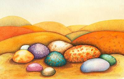 Mountain Drawing - Pebbles by Sandra Moore